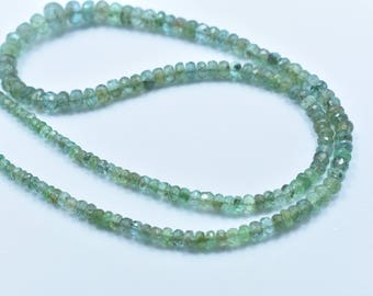 17.5 Inch 3-8mm Natural Zambian Emerald Faceted Rondelle Beads Necklace 180 Beads