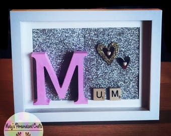 Mum Glitter Scrabble Frame with Gold Hearts
