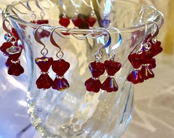 Crystal Bow Tie Earrings- Ruby