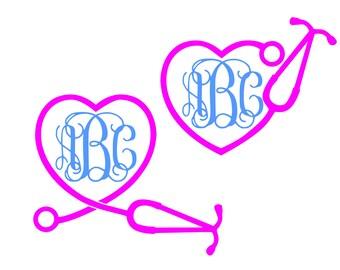 Heart Monogram Svg Stethoscope svg Nurse Svg RN Svg Heart Stethoscope SVG Vector cut file Cricut Explore Silhouette Cameo dxf