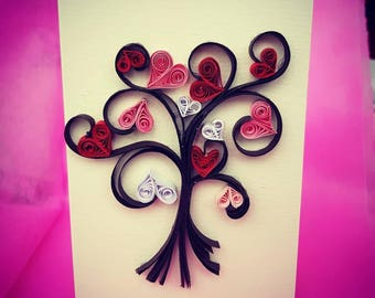 Valantine's handmade card quilling