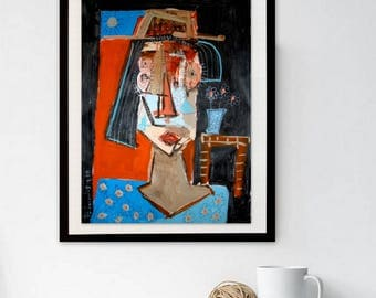 Modern Portrait, Abstract Art, Female Art, Woman Painting, Original Contemporary Art, On paper