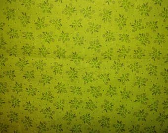 Green Flowers on Green - Fabric Editions