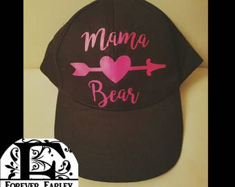 MaMa Bear Hat-Cupid Hat-Mom Baseball Cap-Custom Hat-Vinyl Hat-Valentine's Day Hat-Black Hat-Personalized Hat-Mama Bear-Mama Bear Gifts