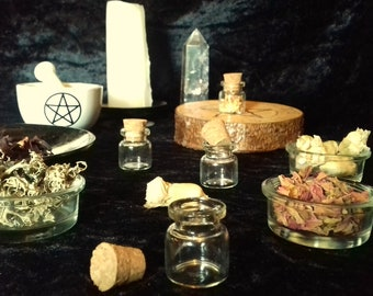 Witches 4ml Spell Bottle Potion Set, 6 Herb Charm Kit, Wiccan Pagan Gift