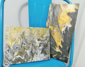 Black and Gold Acrylic Pour Set - 7x12 & 8x10