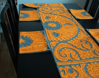 """Suzani Table Runner with Placemats """"Anorak"""""""