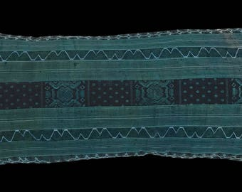 Vintage Hmong Hill Tribe Silk Textile Lumbar Pillow
