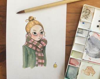 "FINE ART ""Girl With Bun"" limited edition Giclee Print from watercolor illustration"