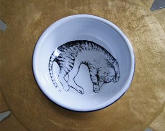 "Enamel Cat Bowl Mexican Original Art Work Contemporary Design ""Gato Acostado"""