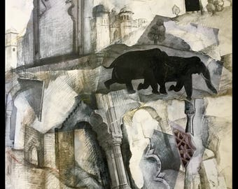 """Artwork for sale, Mixed media collage, drawing , watercolor on paper,  """"Elephant Walk""""."""