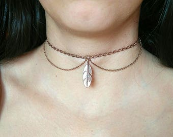 Feather Chain Choker, Chain Choker With Pendant, Feather Pendant, Copper Colored Choker