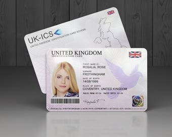 Custom holographic plastic theatrical prop ID card. Personalised with your info. Novelty fake