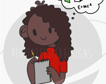 Women in Science cartoon artwork - SVG and PNG