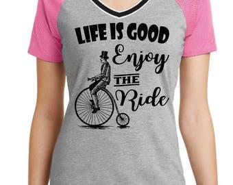 Life Is Good Enjoy The Ride Custom V-Neck Shirt