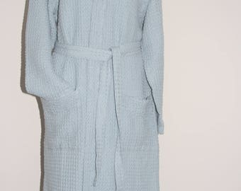 Luxury Linen and Cotton Towelling Bath Robe M/L (Ice Blue)