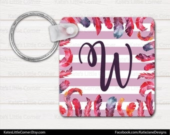 Monogram Keychain, Personalized Keychain, Square Keychain, Bag Tags, Watercolor Flowers, Luggage Tag, Bag Tag, Sweet Sixteen Gift