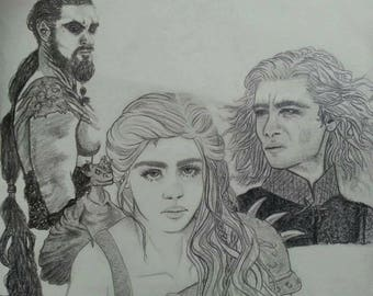 Daenerys and Vaserys Targaryen, Khal Drogo Illustrated Graphite and Charcoal Mural Artwork Mother of Dragons Game of Thrones GOT Khaleesi