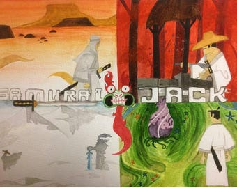 Samurai Jack Aku Cartoon Network Watercolor Episode The Four Seasons Artwork Painting