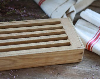 French wood bread cutting board. French bread knifetchen. Vintage bread knife. Old chopping block. French breadboard. Wood bread cutter.