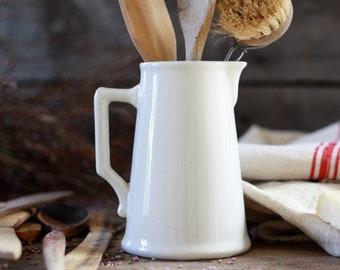 French antique pitcher signed Digoin Sarreguemines 19th. Faience bowl Digoin. Antique white pitcher. Vintage milk pot. French antique vase.