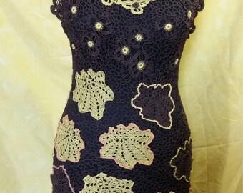 Designer Crochet Black Sleeveless Dress