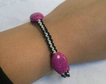 Black and White Hemp Bracelet