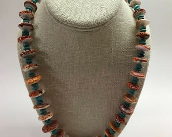 Spiny Oyster and Turquoise Necklace