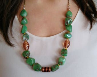 Chrysoprase ethnic necklace, chrysoprase necklace and Murano glass, beaded necklace, artisan necklace, boho, chain and stone necklace, woman gift