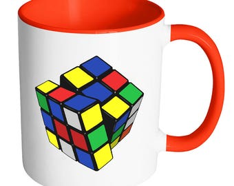 Rubix Cube, Quirky, Puzzle, Problem Solver, Nerdy, Nerd, Mug, Intelligent, Genius, Geeky, Geek, Coffee, Tea, Beverage, Cup, Gift, Colorful