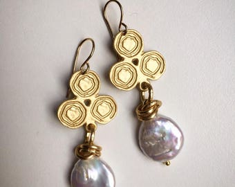 Earrings with river Beads