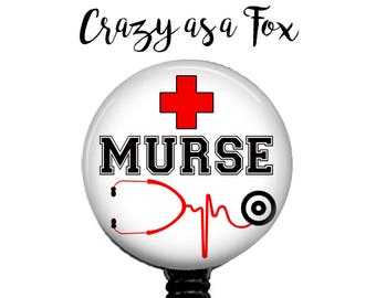 Murse Retractable Badge Holder, Badge Reel, Lanyard, Stethoscope ID Tag, Murse, RN, Nurses Gift