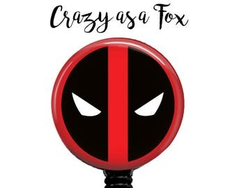 Deadpool Retractable Badge Holder, Badge Reel, Lanyard, Stethoscope ID Tag, doctor, md, pa, cna  Nurse, rn, teacher, student  Gift