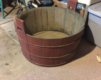 Old washtub in old red paint