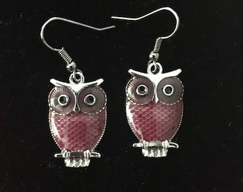 Purple Owl fishhook earrings