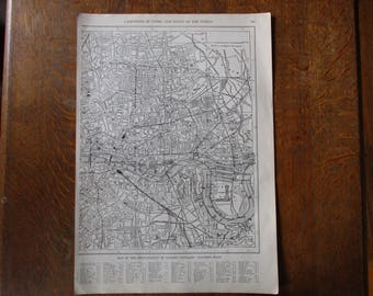 1917 Antique Map of London