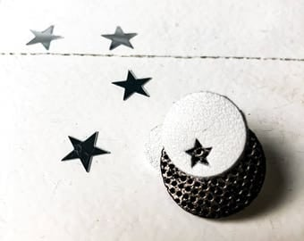 """Badges made of leather - series """"The dark"""" - black and white"""