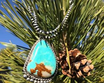X-Large Native American Navajo Kingman Turquoise Sterling Silver Pendant