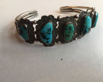 Vintage Turquoise and Silver Navajo Bracelet cuff