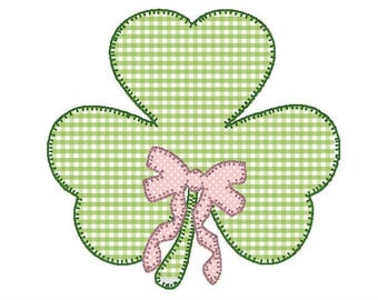 St. Patrick's Day Shamrock and Bow Applique