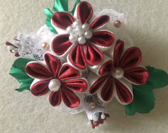 Handmade Girl's Satin Flower Hair Bow, Kanzashi Style bobble