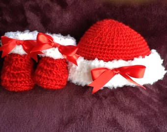 Red and White Cap & Bootie Set