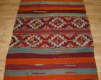 Antique Turkish Village Kilim of Small Size With An Excellent Design and Good Colours, Circa 1900.