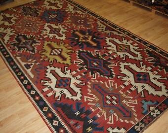 Old East Caucasian Avar Kilim, Classic Design and Great Colour, Circa 1920.