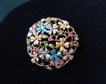 Intricate Floral Monet Brooch- Enamel Brooch- Colored Rhinestones- Things for Easter Baskets- Springtime Jewelry- Pastel Jewelry- Vintage -