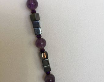 Amethyst and hematite beads