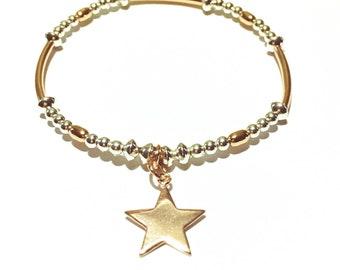 silver and rose gold star bracelet. beaded bracelet, boho jewelry, star charm jewelry,  girlfriend gift, FREE UK DELIVERY
