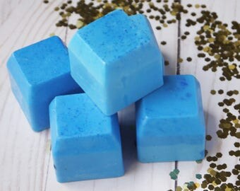 Guest Soap 4 pack- Travel Bars - Cool blue fresh linen - smokey mountain grey- Shower Favors