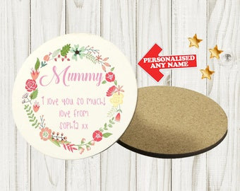 Personalised Mother's Day Coaster Custom Bespoke Idea Gift Best Mum Mummy Best Nan Nanny Grandma For Her Any Name Circle DE2 DE3