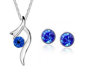 Jewelry Set Necklace & stud earrings * Silver Blue